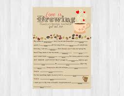Halloween Mad Libs by Love Is Brewing Mad Libs Coffee Bridal Shower Mad Libs Game