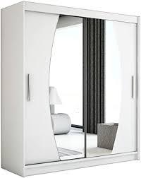 kryspol schwebetürenschrank elypse 150 cm mit spiegel kleiderschrank mit kleiderstange und einlegeboden schlafzimmer wohnzimmerschrank schiebetüren