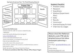 Sample Science Fair Tri Fold Display Board Student Checklist
