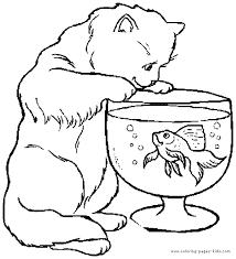 Cat Looking At A Fish Color Page Free Printable Coloring Sheets