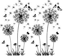 2 stück schwarz wandtattoo pusteblumen für wanddeko groß löwenzahn blumen pflanzen wandsticker wandaufkleber kleben aufkleber wandbilder für