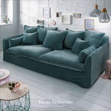 großes 3er sofa heaven 210cm petrol samt abnehmbarer bezug
