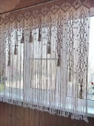 macrame curtain kitchen valance woven curtain on bamboo