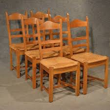 Tall Ladder Back Chairs With Rush Seats by Oak Chairs Set 6 Kitchen Dining Country Quality Ladderback Rush