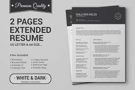 100 Resume Two Pages 2 CV Extended Pack Templates Creative Market