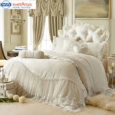 princess Lace cotton luxury bedding sets queen king size beige