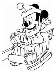 Baby Mickey Playing With Santa Clauss Sleigh On Christmas Coloring Page