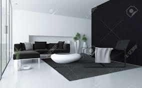minimalist grau und wohnzimmer weiß modernen interieur mit schwarzem akzent wand und boden bis zur decke glasfenster mit einer terrassentür und einem