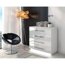 kommode lina mit metallgriffe weiß hochglanz mit led beleuchtung