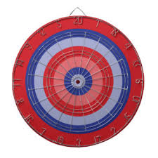 Red And Blue Retro Circle Target Dart Board