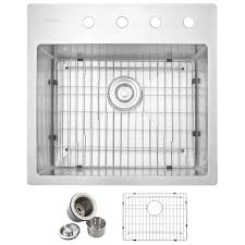 Home Depot Kitchen Sinks Top Mount by Glacier Bay All In One Drop In Stainless Steel 23 In 4 Hole
