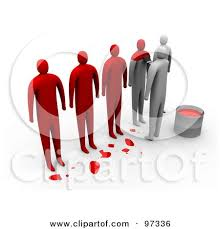 Royalty Free RF Clipart Illustration of a Row 3d People Being Painted Red To Be e The Same by 3poD
