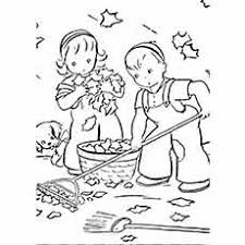 A Boy Girl And Dog Cleaning Up Fall Leaves Coloring Page