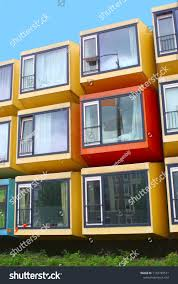 100 Sea Container Accommodation Shipping Homes Stacked Colorful Appartment Stock