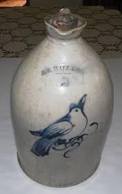 RARE ANTIQUE PRIMITIVE Stoneware Jug BIRD Cobalt Blue E E HALL