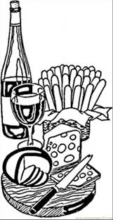 Wine And Cheese From France Coloring Page