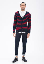 forever 21 striped button down cardigan in blue for men lyst