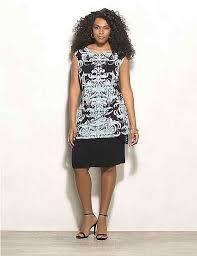 Plus Size Layered Scroll Print Knit Dress