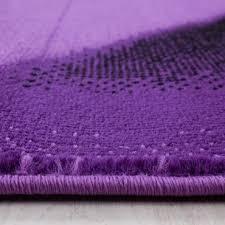kurzflor teppich wellen muster lila schwarz grau meliert wohnzimmer teppich