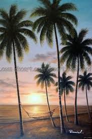 hand painted Hawaii Tahiti Sunset Beach Hammock Palm Trees