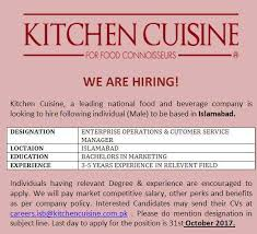 kitchen cuisine enterprise operations customer service manager in kitchen cuisine