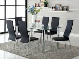 GB8319T-8310BK - Contemporary Style Dining Table + 6 Black ... Galleon 2xhome Set Of Four 4 Plastic Side Black Dark Six 6 Clear Large Size Less Armchair Stackable 11430 French Weave Mattress Fniture For Aldwin Gray Ding Table W4 Restoration Hdware Look Less My Fniture Fancy Fix Rooms Room Chairs Rustic Exciting For Tayabas Cane Chair Look Life On Virginia Street Covers Ideas Trends Also Attractive Make And Chairs Trend Adde Black Home Glamour Arts Italian Designer Painted Cream Wood Tables 42 Round Small Spaces And