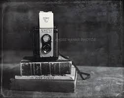 Still Life Photography Vintage Camera Books Black And White Print