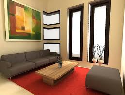 Nice Cream Concrete Wall Of The Decorating Very Small Apartments That Has Modern Floor Can Be Decor With Red Carpet Add Beauty Inside