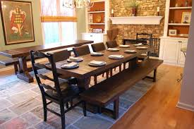 Rustic Dining Room Table With Bench Shabby White Round Solid Wood Minmalist Wooden Polished Hardwood