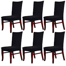 ALPHA DIMA Set Of 6 Stretch Dining Chair Seat Covers Slipcovers With DesignRemoveable And
