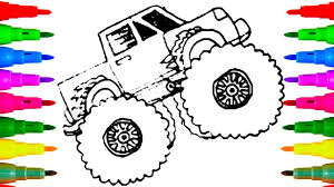 Monster Truck Drawing And Coloring For Kids | Coloring Pages For ...