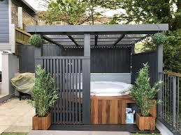 Modern grey pergola Lazy spa hot tub iroko surround s