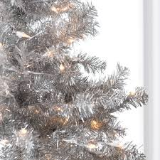 Hayneedle Christmas Trees 4 5 ft classic silver clear pre lit full tabletop christmas tree