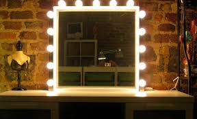 interior square mirror with frame and these lights around