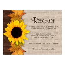 Rustic Fall Sunflower Wedding Reception Invitation Postcard
