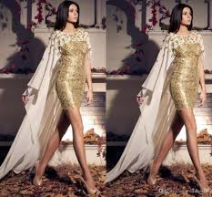 gold lace arabic evening dresses short with cape goddess floral
