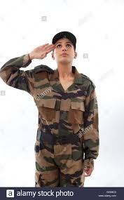 Female Soldier Saluting Looking Up Against White Background