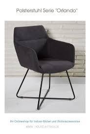 stylischer polsterstuhl mit grauem bezug aus der möbelserie
