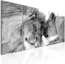 decomonkey bilder löwe 200x80 cm 5 teilig leinwandbilder bild auf leinwand wandbild kunstdruck wanddeko wand wohnzimmer wanddekoration deko tiere