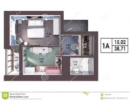 100 One Bedroom Design 3d Render Plan Layout Of A Modern Apartment