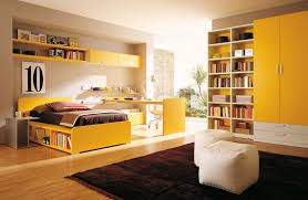 Yellow Color Teen Bedroom With Combination Bookshelves And