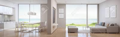 meerblick küche esszimmer und wohnzimmer luxus strandhaus in modernem design ferienhaus für große familie innen3d wiedergabe