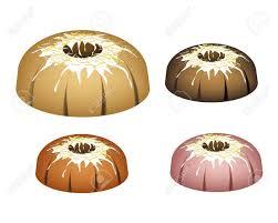illustration satz bundt kuchen oder traditionellen großen runden kuchen mit loch innen spiegel glasur beschichtung und schokolade spritzt für