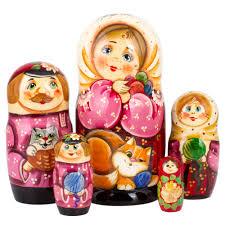 100 Matryoshka Kitchen Ginger Cat Nesting Doll 5 Pc