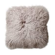 Grey Square Mongolian Lamb Fur Pillow