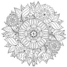 Contoured Mandala Shape Flowers For Adult Coloring Book In Zen Art Therapy Style Anti Stress Drawing Hand Drawn Retro Doodle Vector