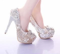 Luxury White High Heels Rhinestone Platform Pumps Wedding Bridal