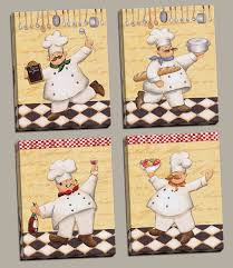 Fat Chef Bistro Kitchen Curtains by Amazon Com Set Of 4 Happy French Chef Kitchen Prints Le Chef Cook