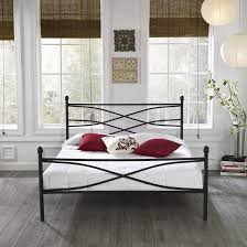 Wrought Iron Cal King Headboard by Black Coated Wrought Iron Leirvik Bed Frame Bedroom Magnificent