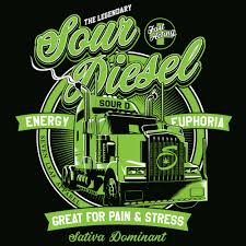 100 Diesel Truck Apparel Seven Leaf Sour Cannabis Strain Black TShirt Mens